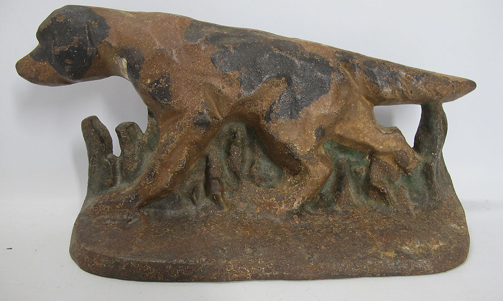 Antique hubley signed 286 cast iron pointer retriever hunting dog doorstop yqz ebay - Cast iron dog doorstop ...